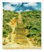 Steps To The Beach Fleece Blanket