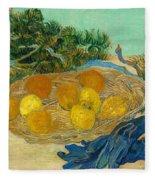 Still Life Of Oranges And Lemons With Blue Gloves Fleece Blanket