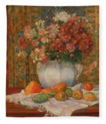 Still Life With Flowers And Prickly Pears Fleece Blanket