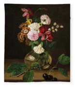Still Life With Flowers In A Glass Vase And Cherry Twig Fleece Blanket