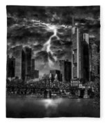 Storm Over Frankfurt Fleece Blanket