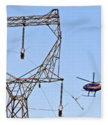 Stringing Power Cable By Helicopter Fleece Blanket