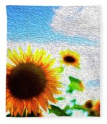 Sunflowers Abstract Fleece Blanket
