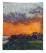 Sunset At Gratwick Waterfront Park Fleece Blanket