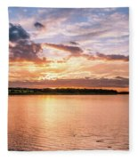 Sunset Over The Bay.......... Fleece Blanket