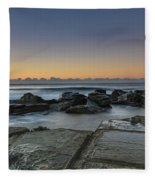 Tessellated Rock Platform And Seascape Fleece Blanket