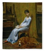 The Artist's Wife And His Setter Dog Fleece Blanket