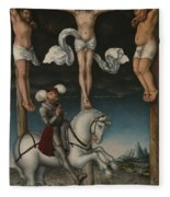 The Crucifixion With The Converted Centurion Fleece Blanket