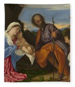 The Holy Family With A Shepherd Fleece Blanket
