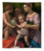 The Holy Family With The Young Saint John The Baptist Fleece Blanket
