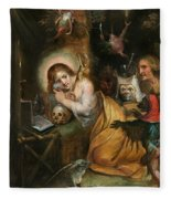 The Penitent Mary Magdalene Visited By The Seven Deadly Sins Fleece Blanket