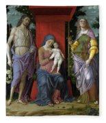 The Virgin And Child With Saints Fleece Blanket