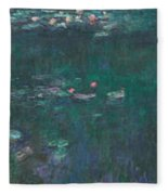 The Water Lilies, Green Reflections Fleece Blanket