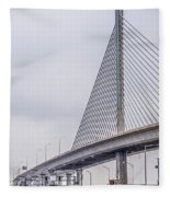 Toledo Ohio City Skyline And Bridges Around Downtown Fleece Blanket