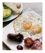 Traditional English British Fried Breakfast With Eggs Bacon And  Fleece Blanket