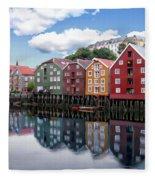 Trondheim Coastal View Fleece Blanket