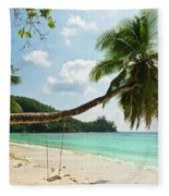 Tropical Beach At Mahe Island Seychelles Fleece Blanket