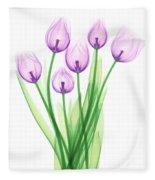 Tulips, X-ray Fleece Blanket
