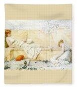 Two Classical Figures Reclining Henry Ryland Fleece Blanket