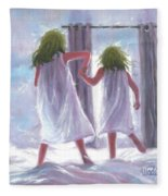 Two Sisters Jumping On The Bed  Fleece Blanket