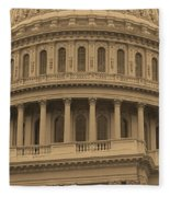 United States Capitol Building Sepia Fleece Blanket