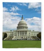 Us Capitol Washington Dc Negative Fleece Blanket