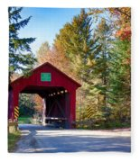 Vermonts Moseley Covered Bridge Fleece Blanket