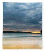 Vibrant Cloudy Sunrise Seascape Fleece Blanket
