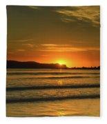 Vibrant Orange Sunrise Seascape Fleece Blanket