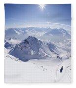 View From Summit Of Valluga, St Saint Anton Am Arlberg Austria Fleece Blanket