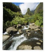 View Of Iao Needle Fleece Blanket