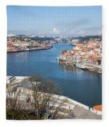 Vila Nova De Gaia And Porto In Portugal Fleece Blanket