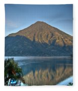 Volcano And Reflection Lake Atitlan Guatemala Fleece Blanket