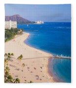 Waikiki Beach And Diamond Head Fleece Blanket