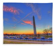 Washington Monument Sunset Fleece Blanket