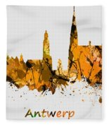 Watercolor Art Print Of The Skyline Of Antwerp In Belgium Fleece Blanket