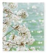 White Cherry Blossoms Trees Fleece Blanket