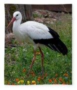 White Stork Fleece Blanket