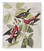 White-winged Crossbill Fleece Blanket