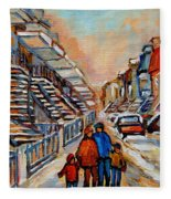 Winter Walk In Montreal Fleece Blanket