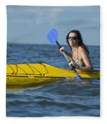 Woman Kayaking Fleece Blanket