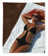 Woman Sunbathing Fleece Blanket