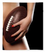 Woman With A Football Fleece Blanket