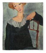 Woman With Red Hair Fleece Blanket
