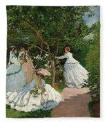 Women In The Garden Fleece Blanket