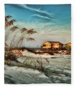 2 Yellow  Beach Houses At Mobile Street Fleece Blanket