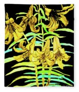 Yellow Lilies, Hand Drawn Painting Fleece Blanket