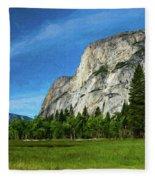 Yosemite Valley Meadow Panorama Fleece Blanket