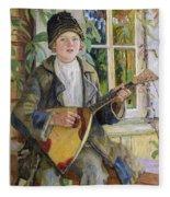Young Boy With A Balalaika Nikolai Petrovich Bogdanov-belsky Fleece Blanket