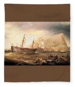 Miller Charles Henry Shipping Off Gibraltar Charles Henry Miller Fleece Blanket